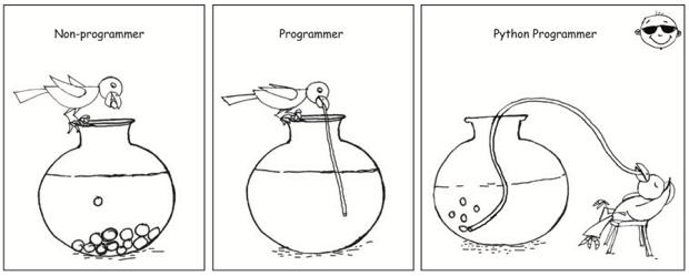 漫画《口渴的 Python 开发者》,形容了 Python 开发者是多么轻松,来自 Pycot 网站